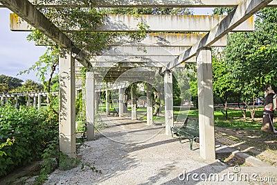 Grande pergola avec les plantes grimpantes accrochantes en parc photo stock image 53265159 for Terasse ontwerp