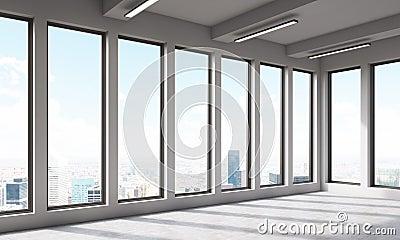 Grande stanza vuota dell 39 ufficio con le finestre - Finestre panoramiche ...