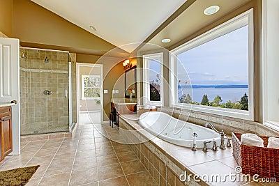 del bagno con la vista dellacqua ed interiore della stanza da bagno ...