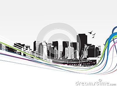 Grande ville - la grunge a dénommé le fond urbain. Vecteur