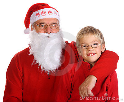 Grandfather as a Santa Claus with his grandson