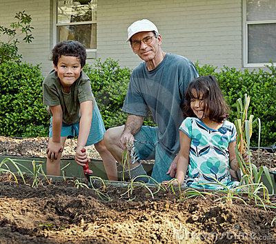 Grandfather and Children Planting in Garden