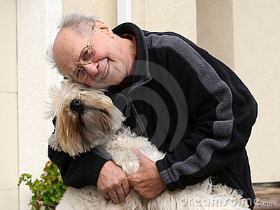 Grandfather with a dog