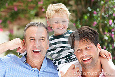 Grandfather And Father Giving Grandson Ride Royalty Free Stock Image - Image: 27273536