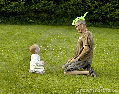 Grandfather with funny hat