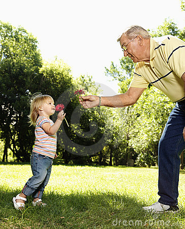 Grandfather and girl