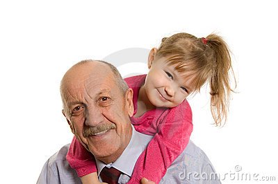 Grandfather with the granddaughter happy