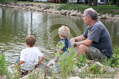 Grandfather and grandsons