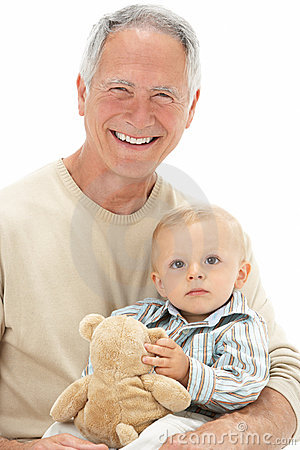 Free Grandfather Holding Grandson With Teddy Bear Stock Photos - 12987873