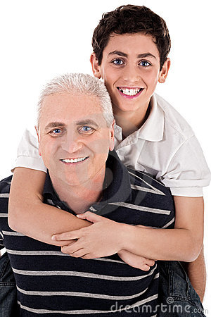 Grandfather piggybacking his grandson