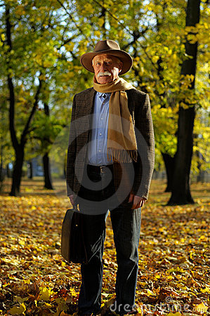 Grandfather portrait in park
