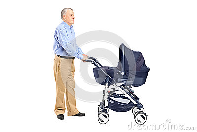 Grandfather pushing a baby stroller