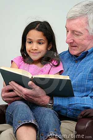 Grandfather Reading Book