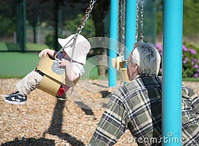 Grandfather Watching Grandson