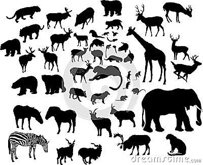 Grandi siluette animali impostate