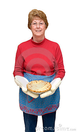 Grandma Baking Apple Pie, Home Cooking Isolated