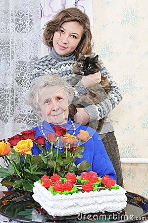 Grandma with graddaughter