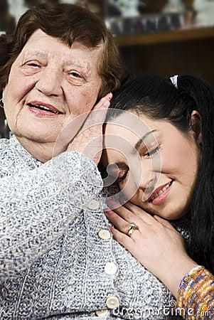 Grandma and grandaughter loving