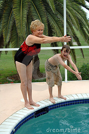 Grandma and grandson swim