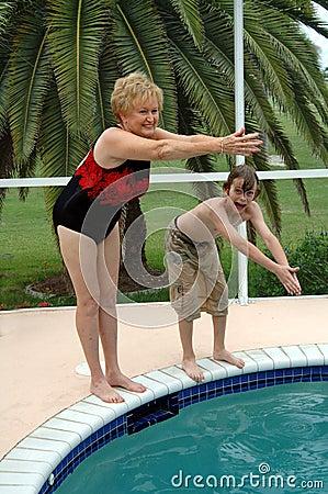Grandma and grandson swim
