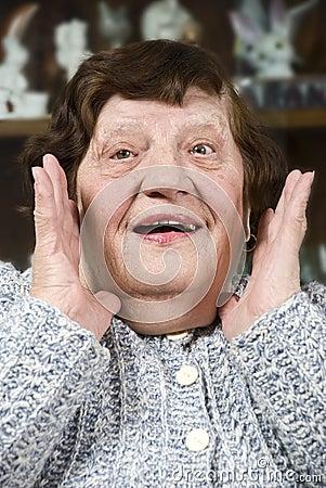 Grandma make a surprised face