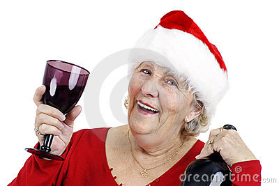 Grandma is making a toast