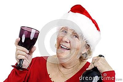 Grandma is making a toast