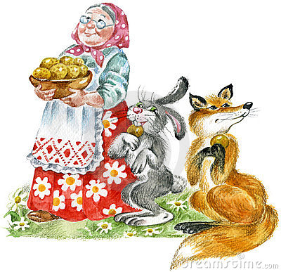 Grandma, rabbit and fox
