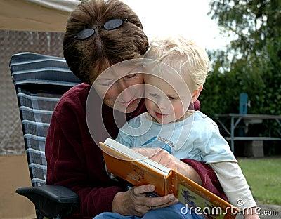 Grandma reading book