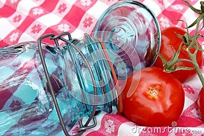 Grandma s Vintage Canning Jar and Tomatoes on the Vine
