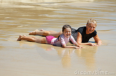 Grandmother and child at the beach