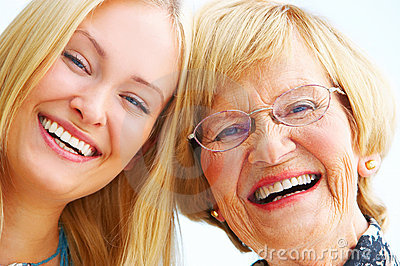 Grandmother and daughter