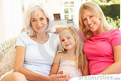 Grandmother, Daughter And Granddaughter Relaxing
