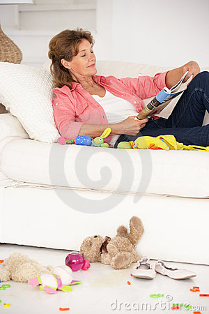 Grandmother enjoying a rest on sofa
