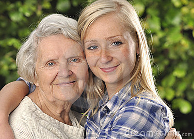 Grandmother with granddaughter.