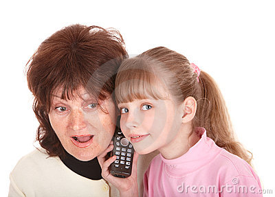 Grandmother and granddaughter call by phone.