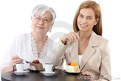 Grandmother and granddaughter at coffee shop
