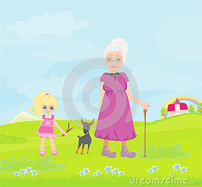 Grandmother with granddaughter and dog on a walk in the park