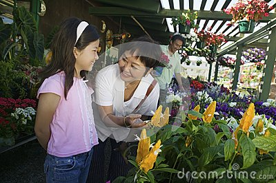 Grandmother with granddaughter looking at plants
