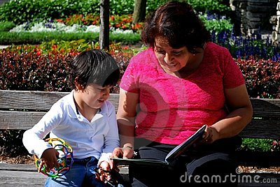 Grandmother and Grandson reading together