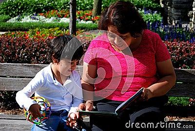 Grandmother and Grandson reading together