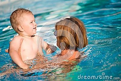 Grandmother and grandson swim