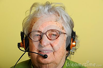 Grandmother with headphones