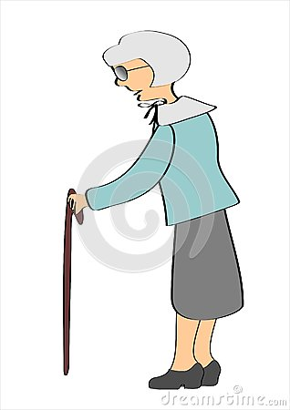 Grandmother with the help of with the walking
