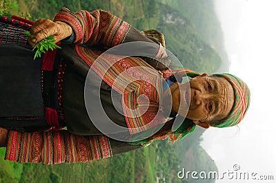 Grandmother Hmong flowered