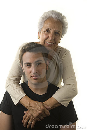 Grandmother hugging her grandson