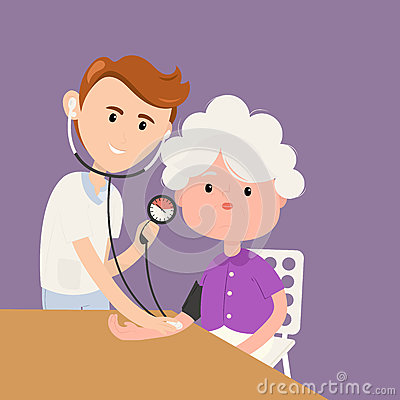 Grandmother measures pressure with doctor in clinic Vector Illustration
