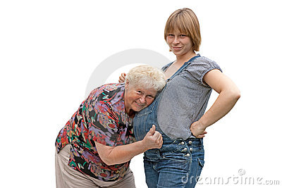 Grandmother with pregnant granddaughter