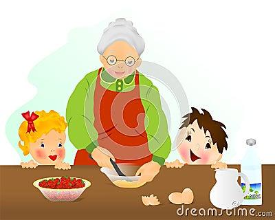 Grandmother preparing cake, cdr vector
