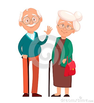 Grandmother standing together with grandfather Vector Illustration
